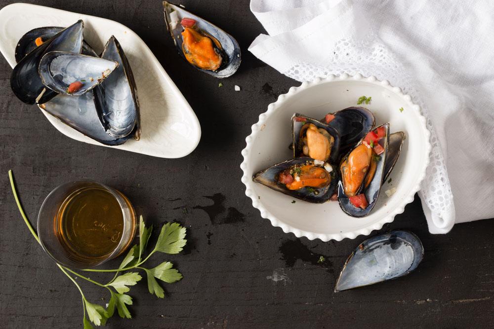 Mejillones al noilly prat con vinagreta picante sweet - Mejillones al vapor con vinagreta ...