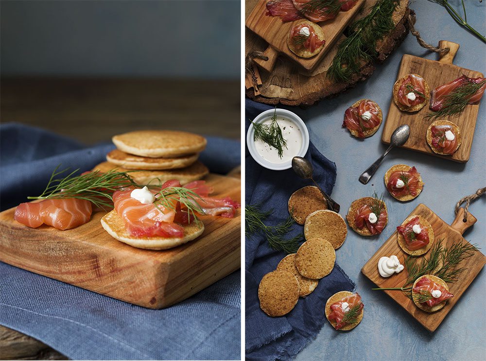 collage blinis salmon