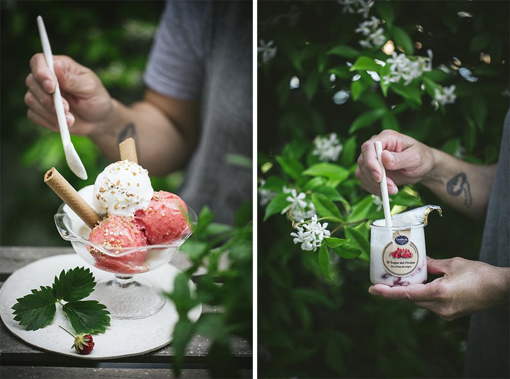 helado de yogurt cremoso natural y de fresa