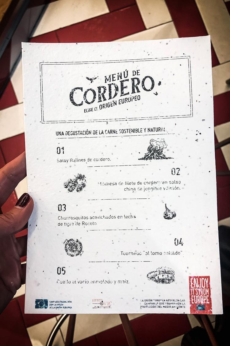 Menú de Cordero